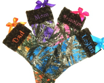 Orange, Purple, Aqua, Hot Pink Camoflauge, True Timber, Real Tree, Christmas Stocking Personalized Stocking your Choice Minky Cuff Color