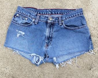 31 Inch Mid Rise Waist Ralph Lauren Distressed Vintage Cut Offs Denim Short Shorts Polo Jeans size 4 Women 31 waist