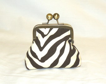 HappyLittle Coin Pouch in Chocolate and Cream Zebra Print