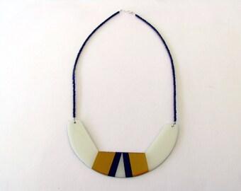 Geometric Bib Necklace-Resin Necklace-Resin Statement Necklace-Gold Resin Necklace-Resin Gold-Modern Jewellery-Contemporary Jewelry