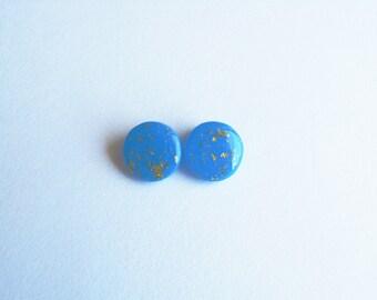 Resin Azure Earrings-Gold Foil-Τurquoise Resin Earrings-Circle Stud Earrings-Modern Jewellery-Resin Jewelry-Gift for her-Gold Resin