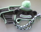 Sock Monkey Hat/Diaper Cover Set for 0-3month Baby or Reborn Doll in Gray and Pistachio Green