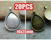 20 Teardrop Pendant trays- 18x25mm Teardrop Bezel Mounting W/ Ring, 2 Colors Available- Antique Bronze, Antique Silver as your choice
