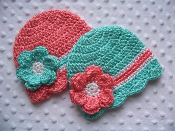 Items similar to Crochet Baby Girl Twin Hats, Baby Twin ...