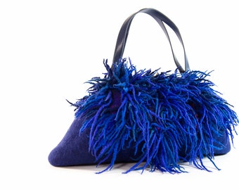 Felted blue purse felt handbag wool purse lazurite big XXL evening fringes  bag unique regina Doseth handmade in Lithuania EU