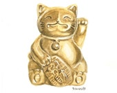 Lucky Cat Watercolor Print - Good Fortune, Cats