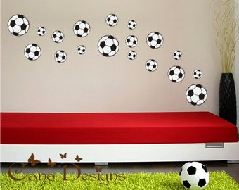 Soccer Ball 18 Set, Fabric wall decals, Removable, reusable and repositionable fabric decal