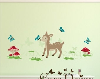 Deer Reusable Fabric  Decal Set, Removable, reusable and repositionable fabric decal