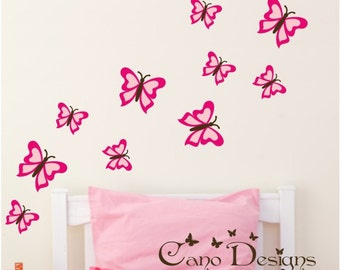Butterflies Reusable Fabric decal set of 10,  Removable, reusable and repositionable fabric decal