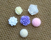 Push pin set, thumbtack, set of 6 mixed color floral cabochon pins for bulletin boards, or choose magnets for your magnetic or chalkboard