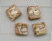 Classical Music Magnets,  Hand made using re purposed tiles, vintage sheet music, aged paint technique and rare earth super strong magnets