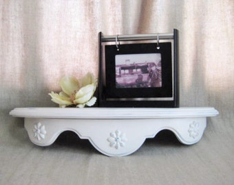 Shabby Homco-Style Shelf in Heirloom White / Upcycled Vintage Shelf / Heirloom White Wall Shelf