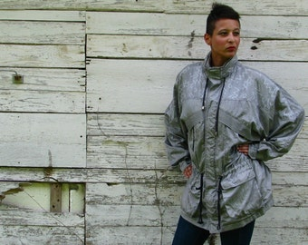 Vintage 1980s Ski Bunny PUFFER Jacket in SILVER Womens Mens PARKA by Vangrack