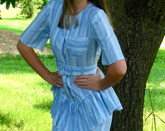 Vintage 1980s Chambray PINSTRIPED Secretary Dress with Ruffled Skirt and Belt