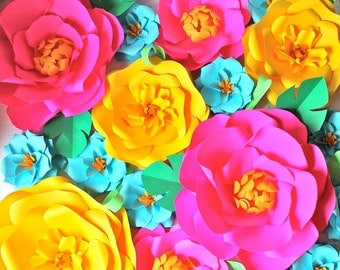 Extra large Paper Flower Backdrop - Pink and Yellow  - Custom Order