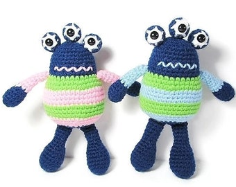 Crochet Monster - Monster Doll  - Alien Doll - Ugly Sweater Doll - Three Eyed Monster  - Space Nursery Decor- Amigurumi Monster - Boy Doll