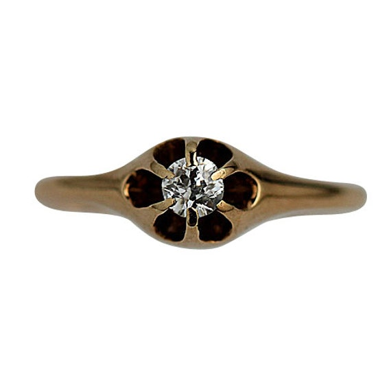 Antique Engagement Ring Petite Ring .20ctw 14K by ...