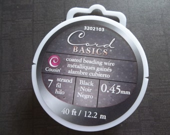Black Bead Wire - 7 Strand Black Beading Wire - 40 Feet (12.2 meters) - 0.45mm Coated Beading Wire - on Spool by Cousin