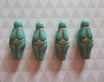 Designer Czech Glass Goddess Beads - 25mm X 10mm - Matte Turquoise with Gold Wash -  Qty 4
