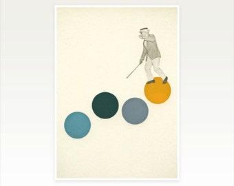Pop Art Poster, Dance Art, Collage Art Print, Yellow and Grey Decor - Tap Dancing