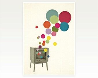 Retro Wall Art, Pop Art Poster, Collage Art Print - Colour Television