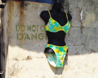 Bardot Bikini - Floral 2-piece Swimsuit - 80s Flower Print Bathing Suit - Honeymoon Resort - Vintage NOS Beach Wear Large