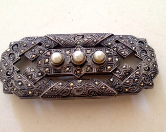 SALE! Antique Brooch ~ Silver Marcasite and Pearls ~ ART DECO