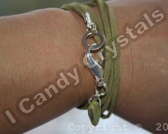Boho Faux Suede Wrap Olive Green Leaf Charm Bracelet