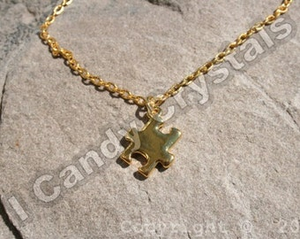 Autism Awareness Puzzle Necklace - gold