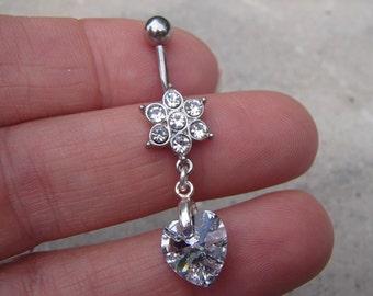 Flower Crystal Belly Ring 14 Gauge