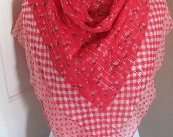 "Lovely Colorful Red Pink Floral Ladies Cotton Scarf  - 30"" Inch 76cm Square"