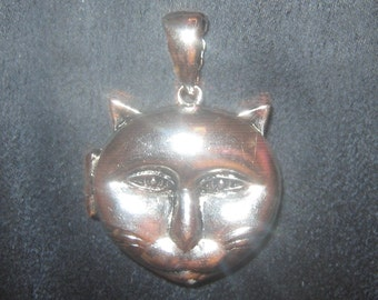 New High Polished Silver Plated KITTY Cat Locket Pendant Necklace