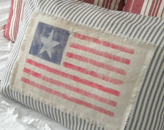 Grungy American Flag Pillow Cover