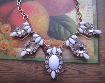 SALE White and Crystal Necklace