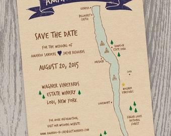 Printable Digital File - Seneca Lake, NY Map Save the Date Card - Customizable - Wedding, Shower, Hand-drawn, Finger Lakes, Lodi, Wagner