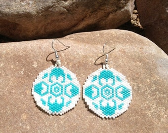 Round Southwest Peyote Beaded Earrings