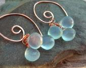 Light Blue Chalcedony Faceted Briolette Copper Swirl Dangle Earrings