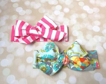 Head Wrap in Premium Designer Woven Cotton - Blue Floral Head Wrap - Pink and White Stripe Head Wrap - Headband - Turban