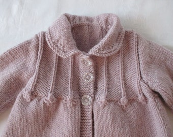 Vintage Lilac Collared Cardigan.....100% Pure wool..... Hand Knitted in New Zealand.. AVAILABLE to POST NOW