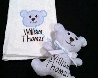 Monogrammed Teddy Bear and Burp Set