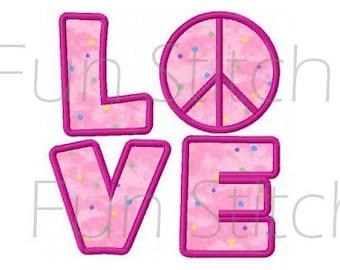 peace love applique machine embroidery design