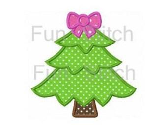 Christmas tree applique machine embroidery design
