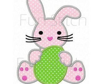 Easter bunny applique machine embroidery design