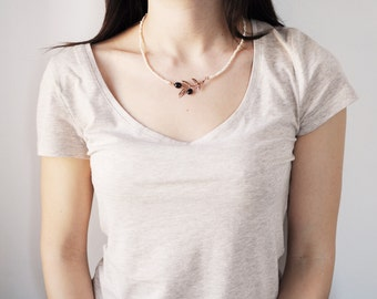 black olive branch necklace with pearl - free shipping