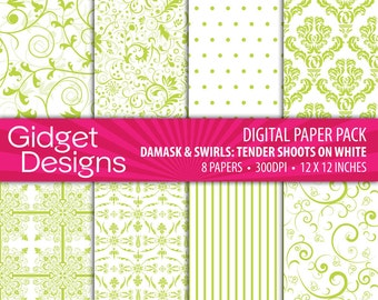 Green Digital Paper Pack Green Damask Patterns Scrapbook Paper Green and White Printable Paper