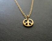 Peace sign necklace, tiny size