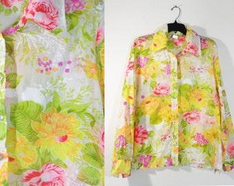 Vintage Sheer Spring Floral Print Chiffon Button Down Blouse Retro Kitsch Kawaii Plus Size