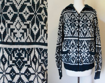 90s Teal Blue Geometric Snowflake Print Knit Zipup Turtleneck Sweater Aspen Hipster Ski Wear size Medium