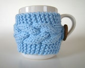 Blue Knit Cup Cozy with Cable Pattern Mug Sweater Mug Cozy Cup Cosy