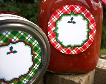 Plaid Christmas labels, round red or green plaid holiday gift stickers, canning jar labels, festive holiday canning labels, gift labels